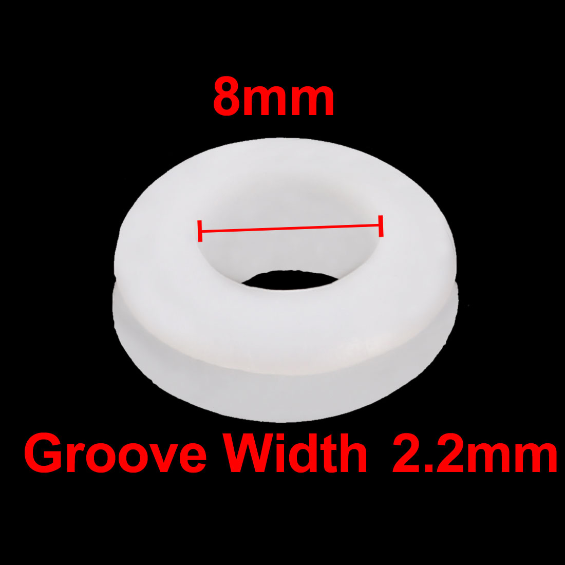 20pcs Double Side Rubber Grommet Eyelet Ring Wire Gasket White 8mm Inner Dia - image 1 de 3