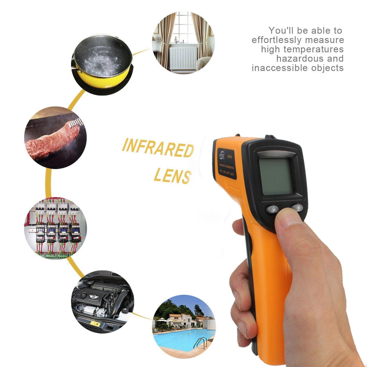 Precise Non-Contact LCD IR Laser Infrared Digital Temperature Thermometer Gun Home use