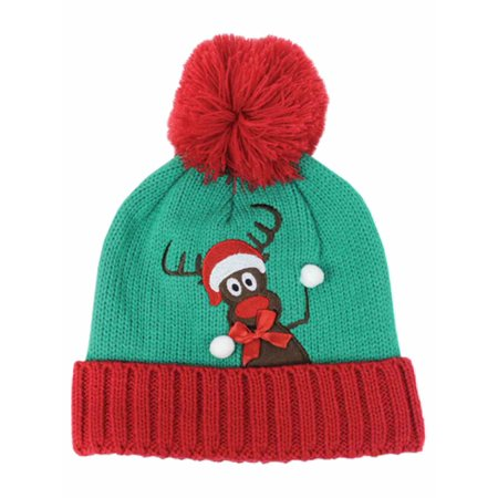 eeb5bf51d David & Young Womens Green Pom Reindeer Holiday Beanie Hat Knit Stocking Cap