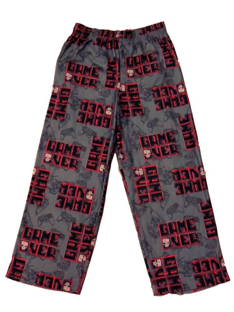 Jelli Fish Boys Gray Video Game Themed Sleep Pants Game Over Pajama Bottoms