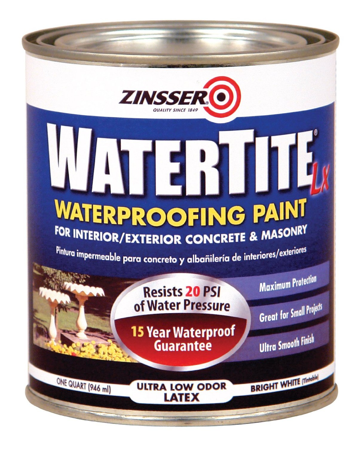Zinsser Watertite Waterproofing Paint Water Base Quart - Paint to cover mold in bathroom