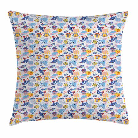 Baby Throw Pillow Cushion Cover, Cats and Fishes with Love Smiling Kitty Comic Toys Games for Girls Clouds Cartoon, Decorative Square Accent Pillow Case, 18 X 18 Inches, Multicolor, by Ambesonne