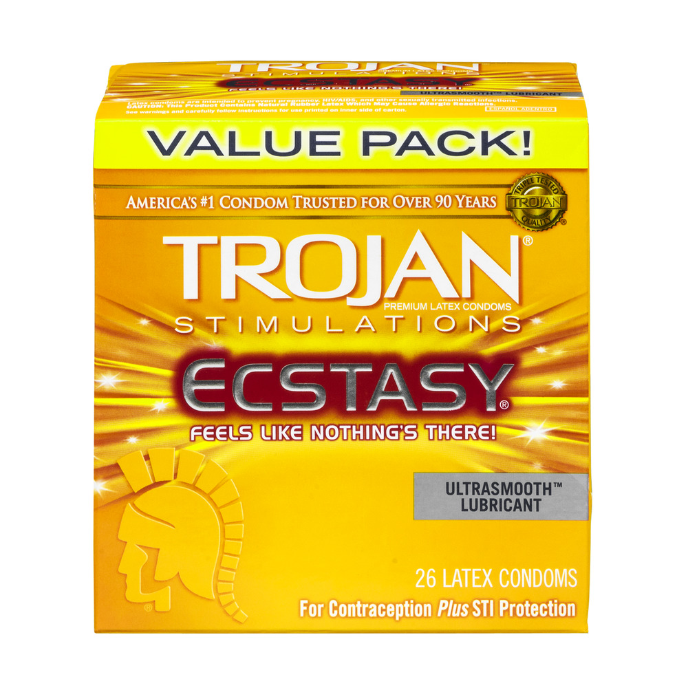 Trojan Stimulations Ecstasy Latex Condoms Ultrasmooth Lubricant Value Pack - 26 CT