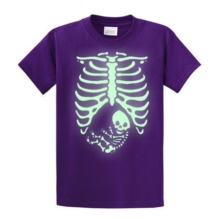 Halloween T-Shirt Pregnant Skeleton Baby-purple-xl