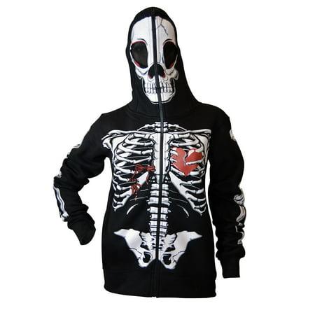 Women Full Face Mask Skeleton Skull Hoodie Sweatshirt Halloween Costume Hoodie Black Small
