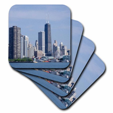 3dRose Illinois, Chicago, Lake Michigan view the Chicago city skyline,, Soft Coasters, set of 8 for $<!---->