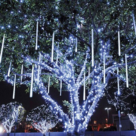 Rain Drop Lights, LED Meteor Shower Lights 11.8 inch 8 Tubes 144leds, Icicle Snow Falling Lights for Xmas Wedding Party Holiday Garden Christmas Decoration Outdoor (Ice White) - Halloween Icicle Lights Outdoor