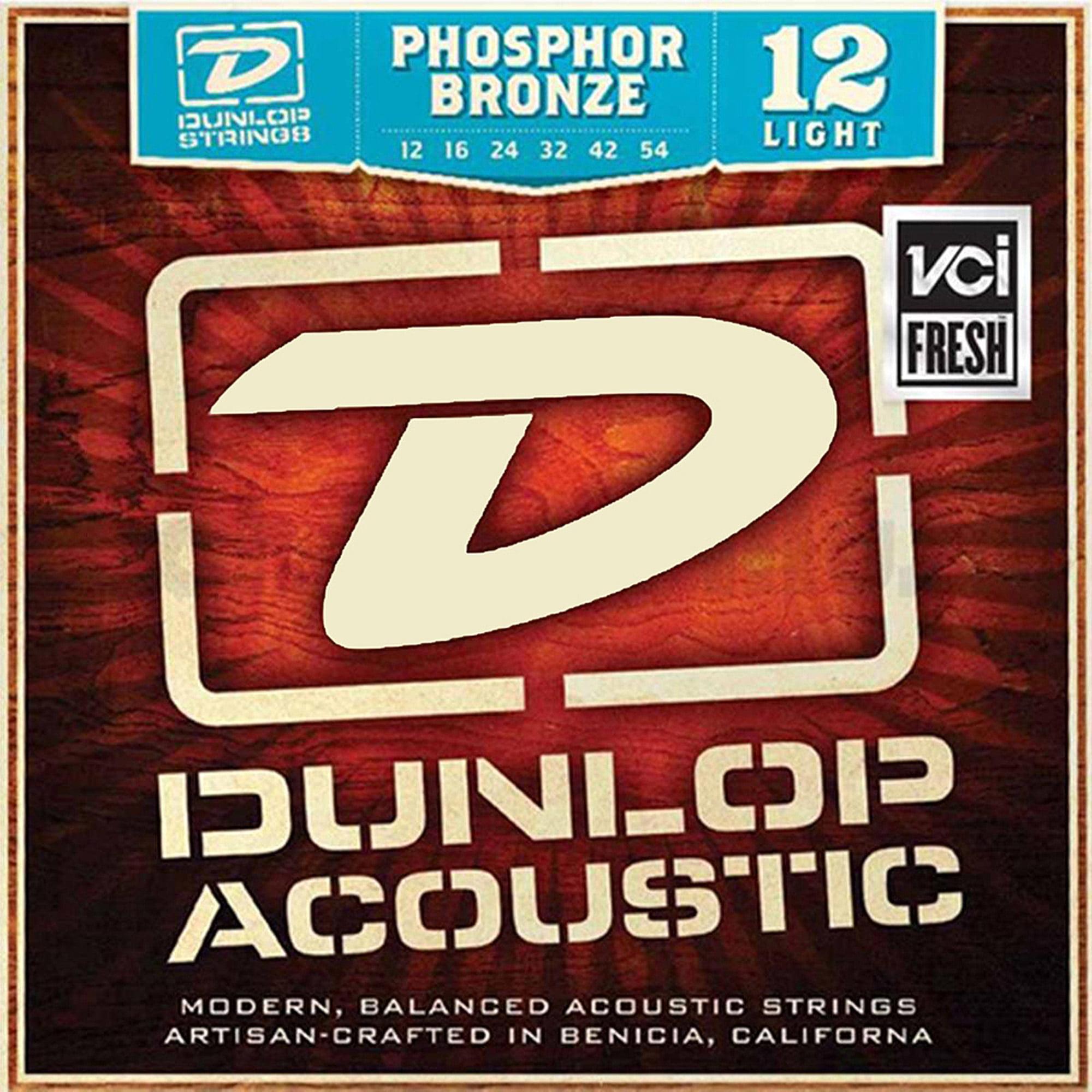 Dunlop DAP1254 Phosphore Bronze Light Acoustic Strings 6-String Set, .012-.054 by Dunlop