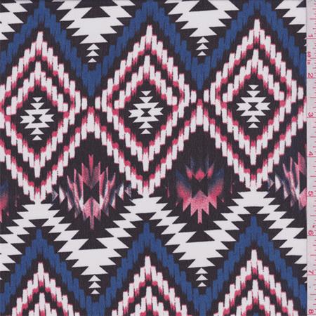 Black Multi Aztec Chiffon, Fabric Sold By the Yard