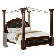 California King Bed with Canopy and Leatherette Head and Footboard, Brown