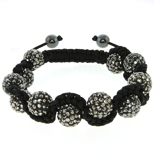Stunning Iced Out 10MM Black Color Beaded Adjustable Bracelet