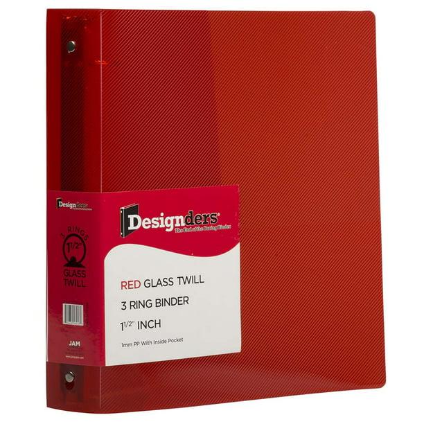 JAM Plastic 3 Ring Binder, 1.5 Inch, Red, 1/Pack