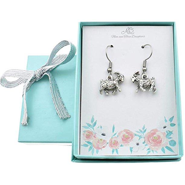 Goat earrings in silver toned metal