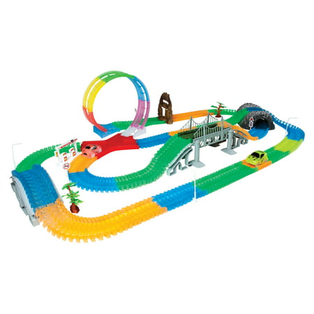 Flexi Track - Mega Galaxy Flex-Track 425-Piece Glow in the Dark Track with 2 Electric LED Light Cars and Track Loop