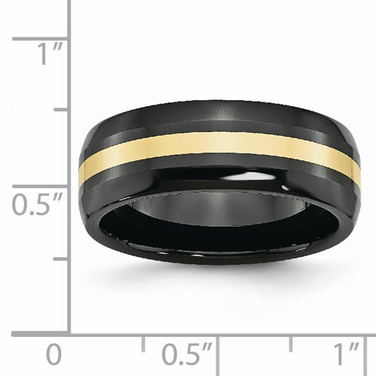 Ceramic Black with 14k Inlay 8mm Polished Band Ring 8.5 Size - image 2 de 6