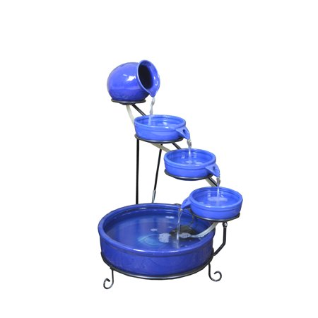 - ASC Terra Cotta Cade Solar Water Fountain with Water Pump Kit and LED Light Blue