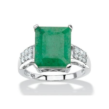 5.25 TCW Emerald-Cut Genuine Emerald and White Topaz Ring Rhodium-Plated Sterling (Emerald Cut Gemstone Rings)
