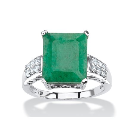 5.25 TCW Emerald-Cut Genuine Emerald and White Topaz Ring Rhodium-Plated Sterling Silver Crown Emerald Ring