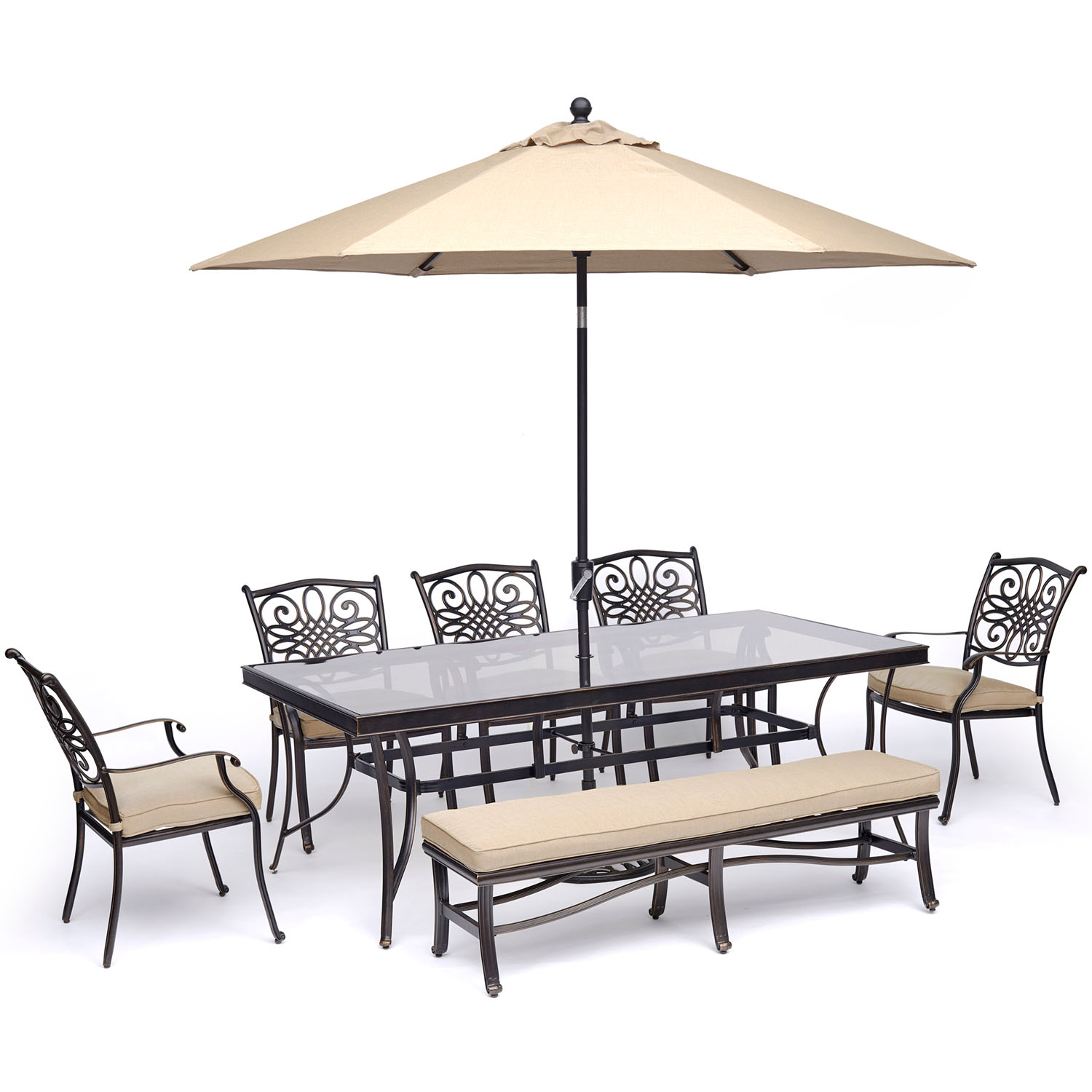 """Hanover Traditions 7-Piece Dining Set in Tan with 5 Chairs, Bench, a 42"""" x 84"""" Glass-Top Table, and an 11 Ft. Umbrella with Stand"""