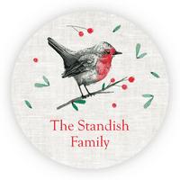 "Personalized Holiday circular 1.75"" Circular Seal Stickers - Robin Redbreast"