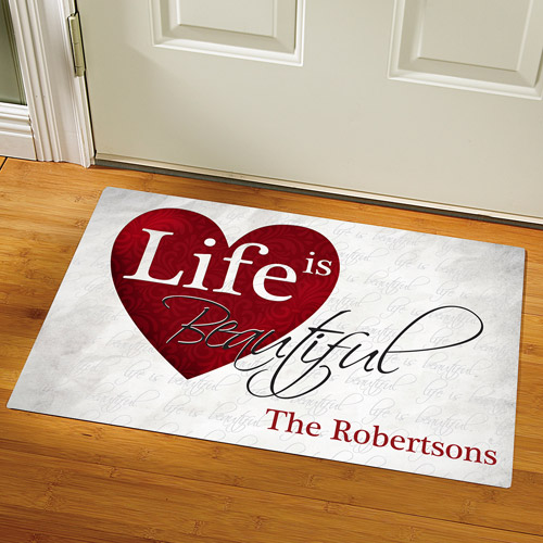 Personalized Life Is Beautiful Doormat