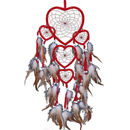 Large Handmade Dream Catcher Traditional Dreamcatcher Feather Wall Hanging Decoration Ornaments Five Hearts Red 5 Heart Wall Hanging