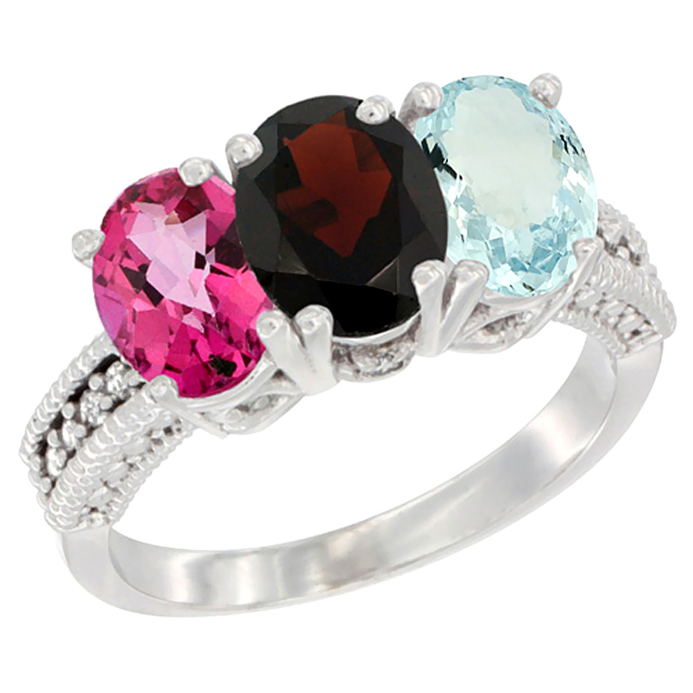 10K White Gold Natural Pink Topaz, Garnet & Aquamarine Ring 3-Stone Oval 7x5 mm Diamond Accent, sizes 5 10 by WorldJewels
