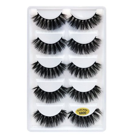 5 Pairs 3D Fake Eyelashes Long Thick Natural False Eye Lashes Set Mink Makeup](Halloween Fake Eyelashes)