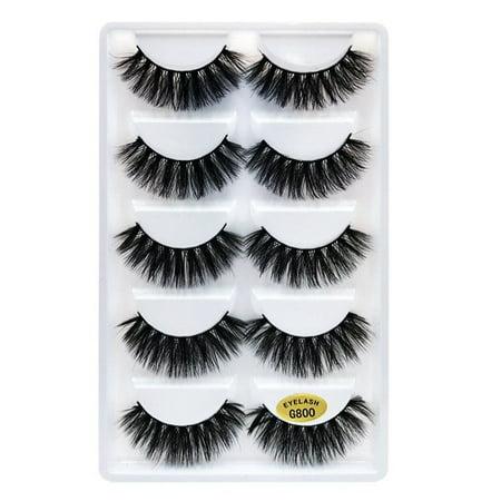 5 Pairs 3D Fake Eyelashes Long Thick Natural False Eye Lashes Set Mink (Eyelash Set)