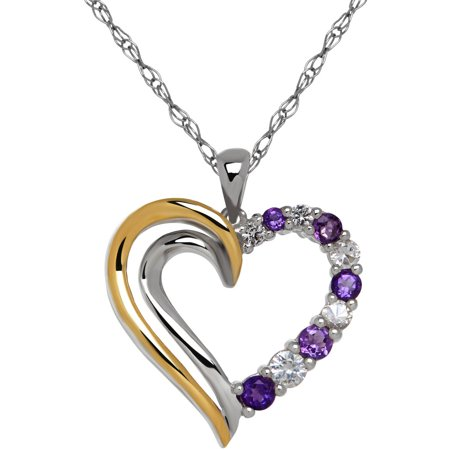 "Amethyst with White Topaz Sterling Silver and 10kt Yellow Gold Open Heart Pendant, 18"" Necklace"