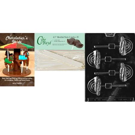 Cybrtrayd 'Rainbow Lolly' Miscellaneous Chocolate Candy Mold with 25 4.5-Inch Lollipop Sticks and Chocolatier's - Rainbow Lollipop