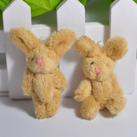 Fancyleo 2Pcs Soft Plush Joint Rabbit Bunny Doll Key Chain Bag Pendant DIY Craft Ornament](Diy Halloween Plushies)