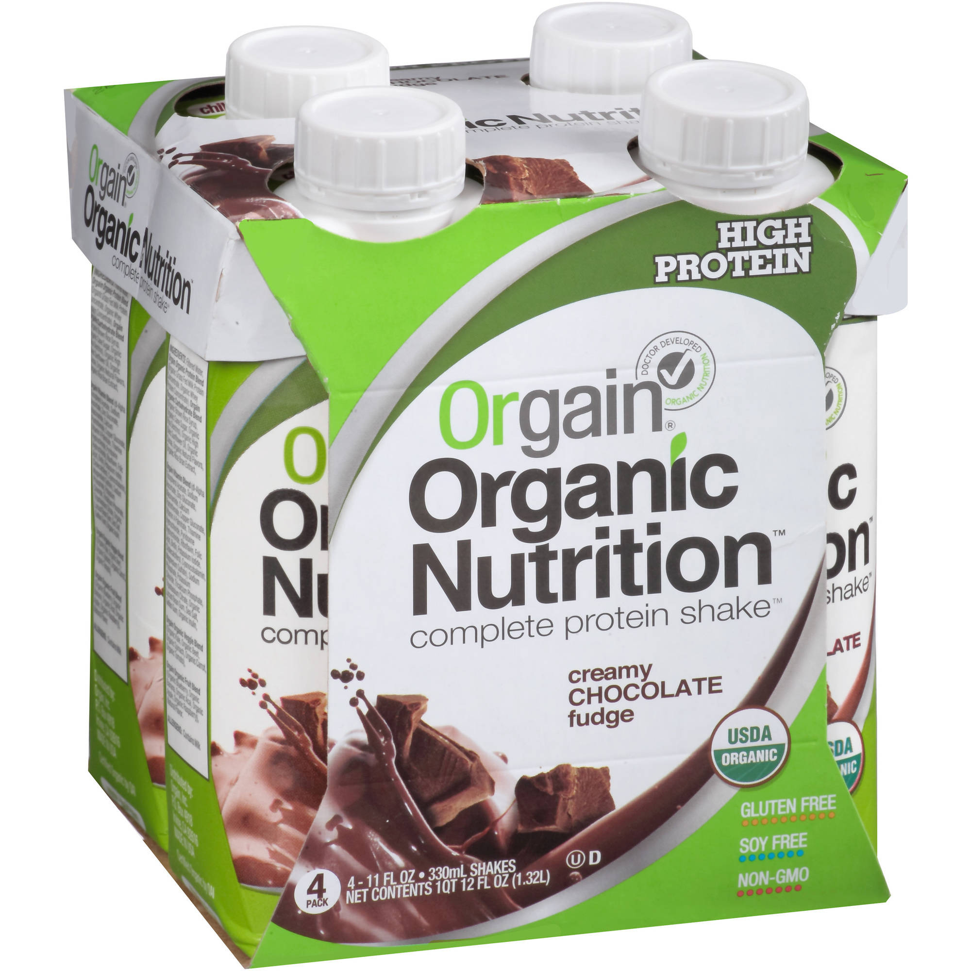 Orgain Organic Nutrition Creamy Chocolate Fudge Complete Protein Shake, 11 fl oz, (Pack of 4)