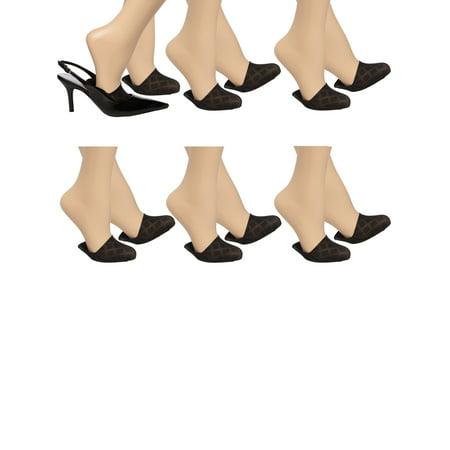 Easy Spirit (6 Pack) Diamond Pattern Liner Half Socks Toe Cover Womens Socks Nylon No Show Socks Women