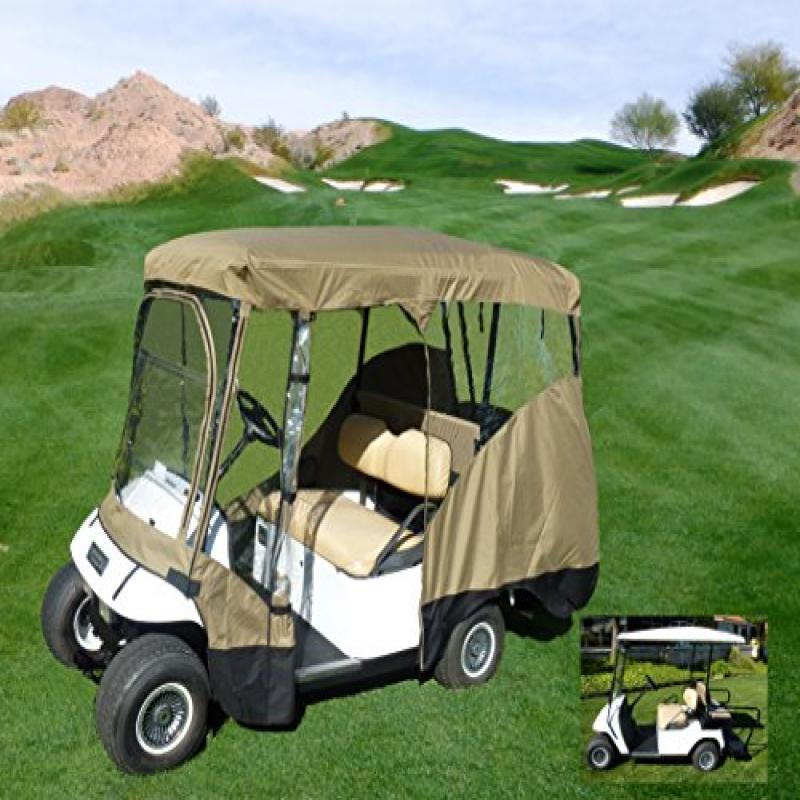 """Formosa Covers Golf Cart Driving Enclosure for 4 Passengers roof up to 80""""L, fits Club car, EZGo and Yamaha G model - All Weather"""