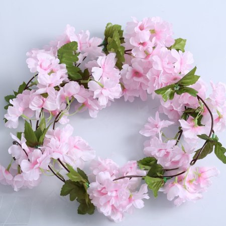 7.7FT Artificial Cherry Blossom Garland Flowers Rattan Vine for Wedding Home Wall Decoration - Cherry Blossom Decorations