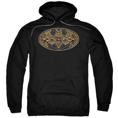 Trevco Batman-Aztec Bat Logo - Adult Pull-Over Hoodie - Black, - Brat Hoody