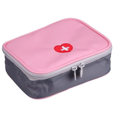 Mini Outdoor First Aid Kit Bag Travel Useful Portable Medicine Package Emergency Kit Bags Medical Storage Bag Small Organizer for Travel Business Trip Household Pink Style 2