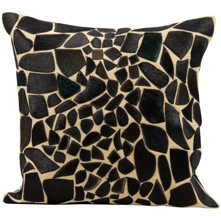 Nourison Mina Victory Natural Leather and Hide Giraffe Black Throw Pillow by