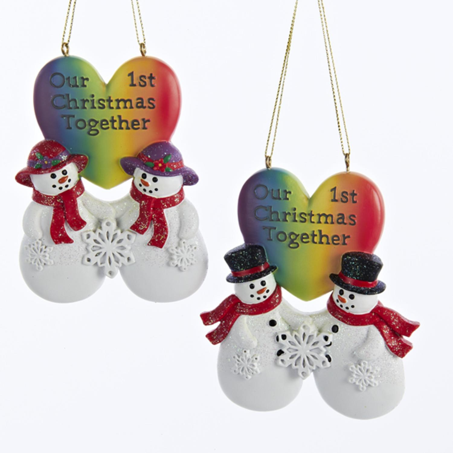 "Club Pack of 12 Gay Pride Snow Couple ""Our 1st Christmas Together"" Christmas Ornaments 3.5"""
