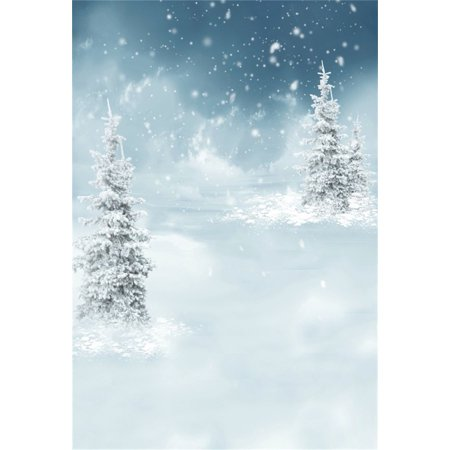 GreenDecor Polyester 5x7ft White Christmas Tree Background Snowflake Photography Backdrop Dreamy Xmas Winter Scenery New Year Kid Baby Girl Boy Adult Artistic P