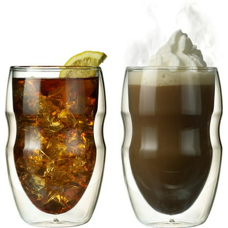 Glass Insulation - Serafino Double Wall 12 oz Beverage & Coffee Glasses - Set of 2 Insulated Drinking Glasses