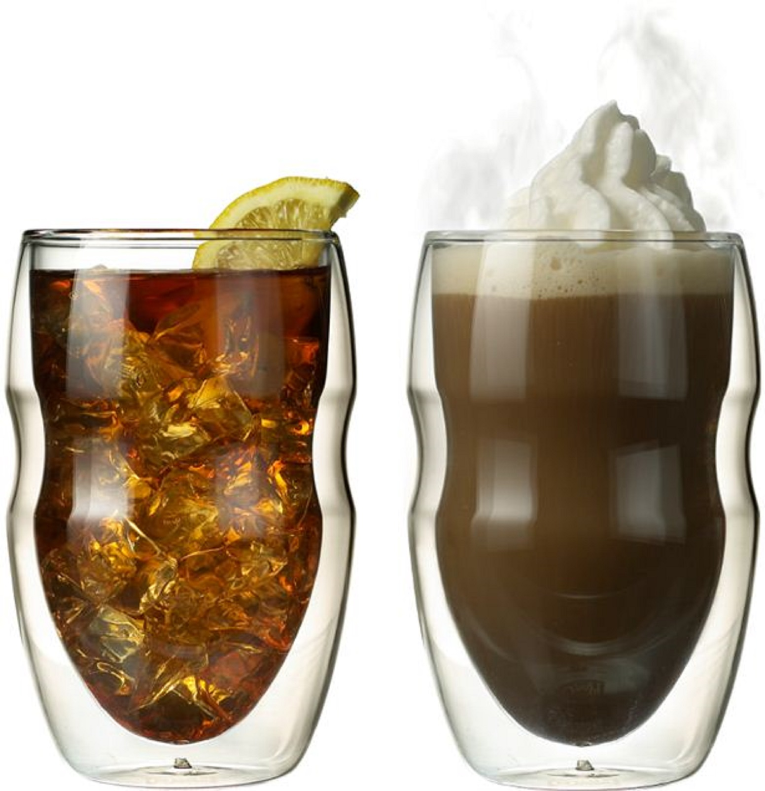 Serafino Double Wall 12 oz Beverage & Coffee Glasses - Set of 2 Insulated Drinking Glasses
