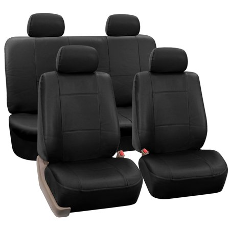 FH Group Faux Leather Airbag Compatible and Split Bench Car Seat Covers, Full Set, Black