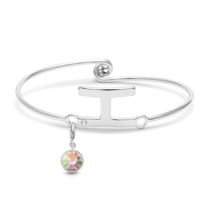 Initial Bangle Bracelet With White Crystal and Opal Crystal Birthstone, For October Babies by SuperJeweler