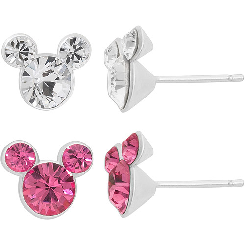 Disney Mickey Mouse Sterling Silver Pink and Clear Crystal Stud Earrings Set