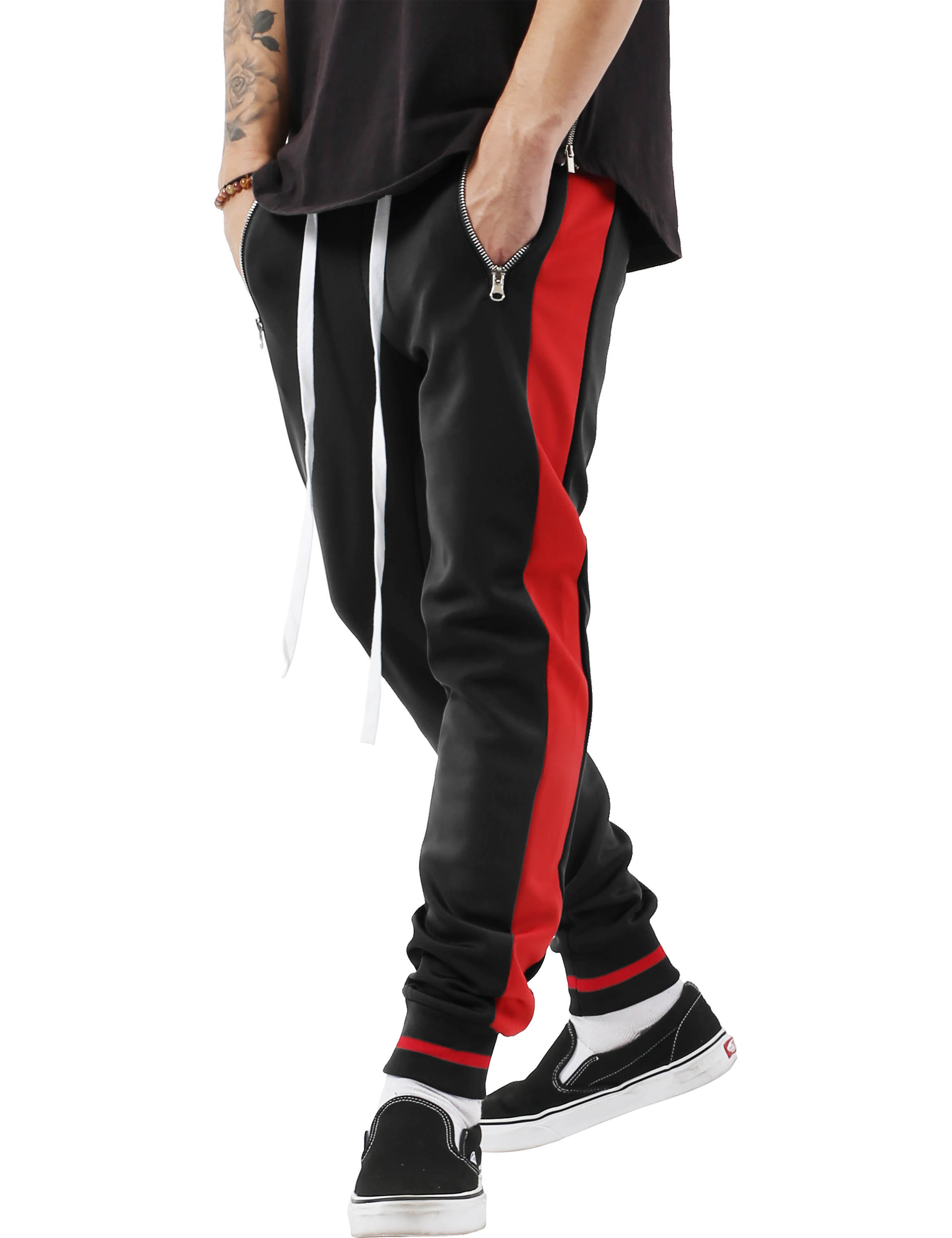 Men's Skinny fit Two Tone Stripe Track Pants Jogger with Zipper Pockets