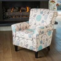 Noble House Hannah Fabric Blue Floral Club Chair