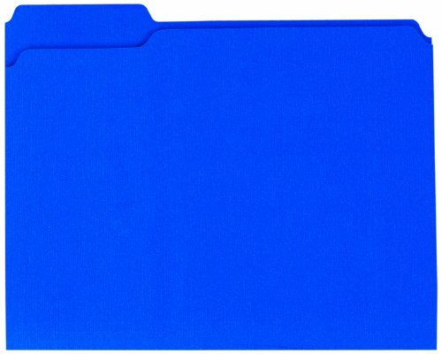 "Globe-weis Double Top Colored File Folder - Letter - 8.50"" X 11"" - 1/3 Tab Cut - Assorted Position Tab Location - 11 Pt. - Card Stock - Blue - 100 / Box (GLW13034)"