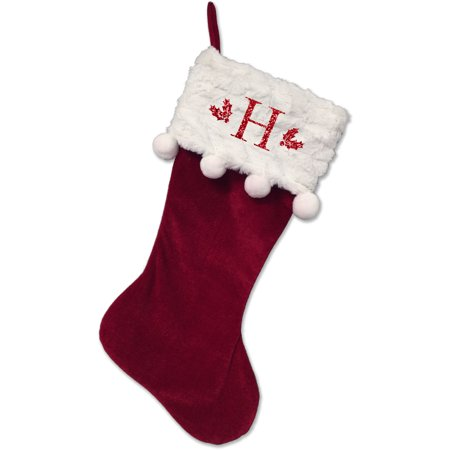 Christmas Stocking With Initial (Monogrammed Christmas Stocking, Red Stocking With Balls with Serif Glitter)